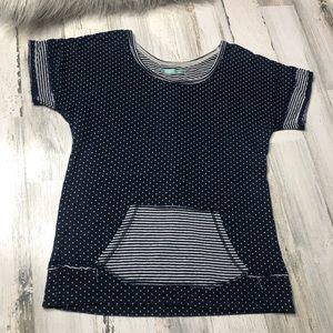 Maurices Shirt Blue Polka Dot size medium white